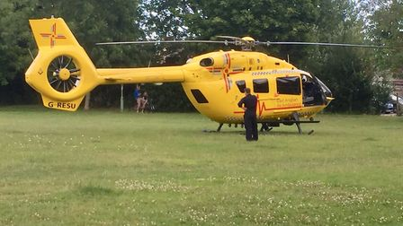 The East Anglian Air Ambulance landed on a nearby park following a crash on Long Road in Lowestoft.