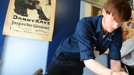 Queen Elizabeth Hospital apprentice Craig Thaxton working on the construction of a 'Pop Up Reminisce