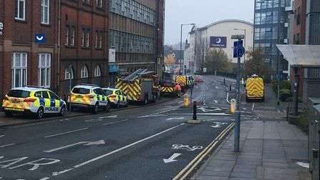 Numerous emergency vehicles at the scene on Duke Street after an Extinction Rebellion protest. Photo