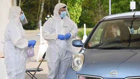 NHS staff and keyworkers swab themselves at the Norwich Research Park. Picture: DENISE BRADLEY