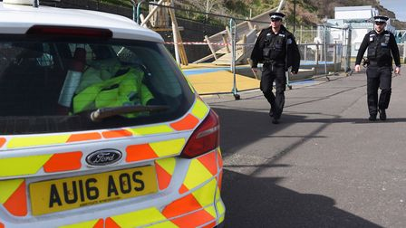 Cromer police PC Joey Mezzetti, left, and PC Cameron Askew patrolling during the first lockdown. Pic
