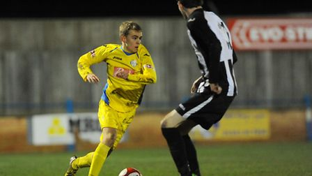Lynn's Shaun Stocker, in action against Acle United, could feature for Lynn tonight. Picture: Ian Bu