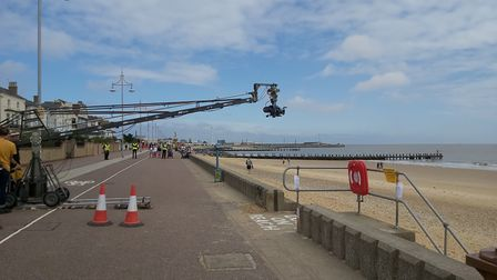 The cameras on the promenade at Lowestoft seafront filming the closing scenes for the new Burberry a