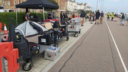 The film crew prepare on the promenade at Lowestoft seafront ahead of filming the closing scenes for