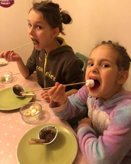 Phoebe, 10, and Ava, 5, Davison, were among the 1st Toftwood Brownies who took part in autumn-themed