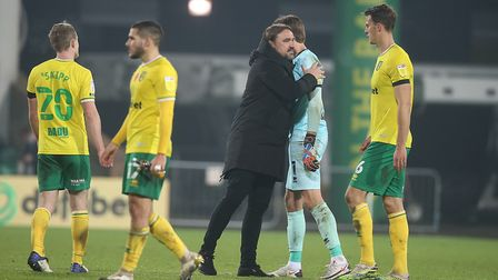 Norwich City head coach Daniel Farke and Tim Krul are up for Championship awards. Picture: Paul Ches