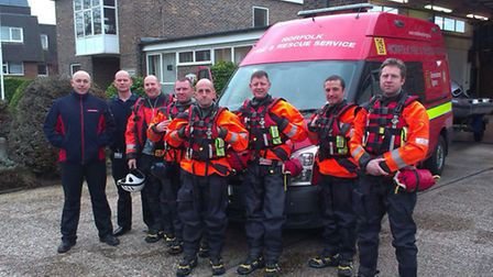 The crew from Carrow Fire Station in Berkshire as they assisted in flood-hit areas.
