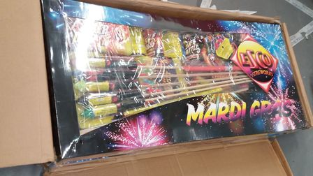 Around 200 fireworks were seized by Suffolk Trading Standards from a home in Carlton Colville. PHOTO