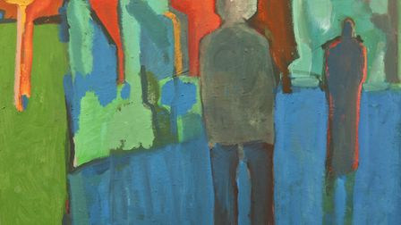 A painting by John Midgley, inspired by watching art gallery visitors' response to artworks.