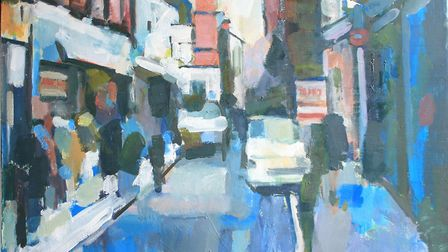 """A painting of a Sheringham street, created as part of a series entitled """"backroads"""". Photo: Karen B"""