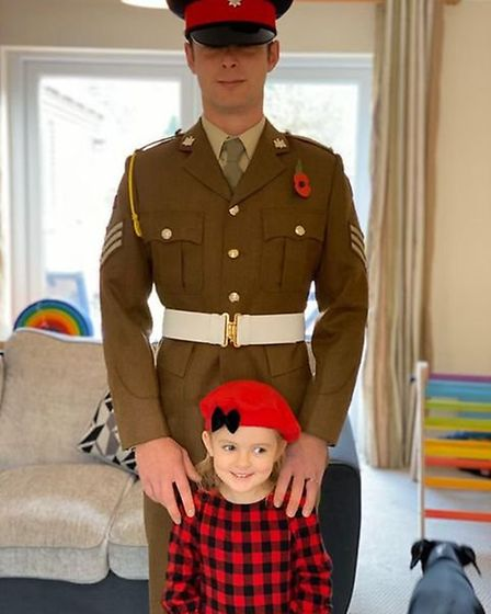Joe Bell with his five-year-old daughter, Felicity who has helped raise £500 for the British legion.