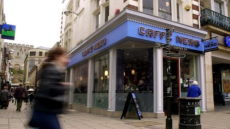 A question mark is hanging over the future of Caffe Nero sites - including one in Norwich. Photo: Bi