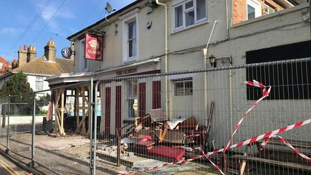 The Albion pub in Great Yarmouth after a car ploughed into it. Picture: LAUREN DE BOISE