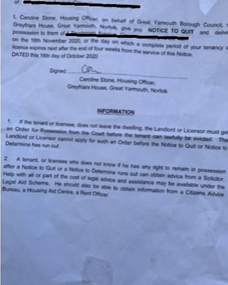 The 'embarassing' notice to quit placed on Theresa Thompson's front door. Photo: Phil Thompson