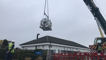 A wall had to be demolished in order to lift out the old MRI machine Picture: NEIL DIDSBURY