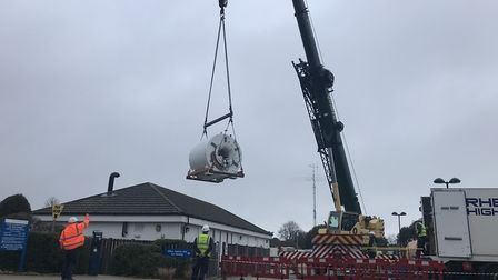The MRI machine being lifted out from Cromer Hospital Picture: NEIL DIDSBURY