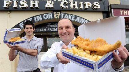 Luke and Phil Platten from Platten's Fish and Chips in Wells. Anyone with the surname Platten is 41