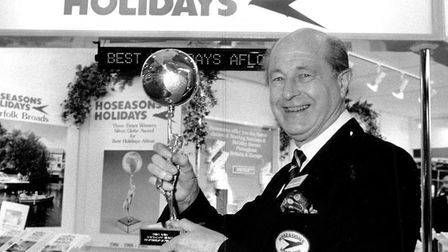 James Hoseason, chairman of Hoseasons Holidays, with the Best Holidays Afloat trophy in 1990. Pictur