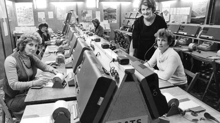 The new Oulton Broad telephone nerve centre in the Hoseasons' new building, 1979. Picture: Archant L