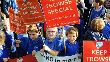 Trowse villagers with placards for their campaign to Keep Trowse Special. Picture: Denise Bradley