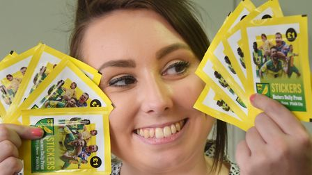 Laura Gardner with the NCFC stickers for the 2020 Eastern Daily Press and Norwich Evening News Stick