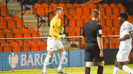 Archie Mair shows his delight when Barnet missed a first half penalty. Picture: Ian Burt