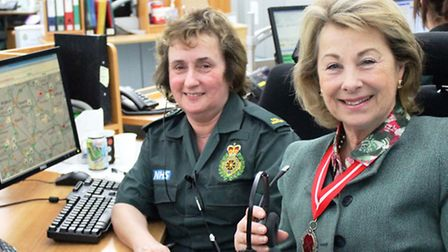 Lady Leicester with Carol Kemp at the ambulance control room.