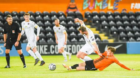 Ryan Jarvis is fouled by his marker. Picture: Ian Burt