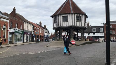 Wymondham town centre after it was revealed that the town now has the 45th highest Covid rate in Eng