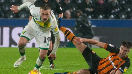 Tom Trybull had Norwich City's best chance in a 0-0 draw at Hull City earlier this season. Picture: