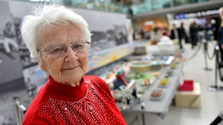 Margaret Seaman, knitted the Gt.Yarmouth Golden Mile, Norfolk Makers, The Forum. PICTURE: Jamie Hone
