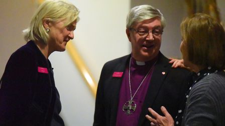 Lady Bacon speaking to Rt Revd Graham James at the launch of the 12 million Priscilla Bacon Hospice