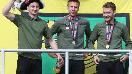 Kenny McLean, Marco Stiepermann and Tom Trybull during the Norwich City Victory Parade and civic rec
