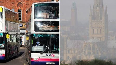 Buses on Castle Meadow have been blamed for the high levels of nitrogen dioxide there. Right, a morn