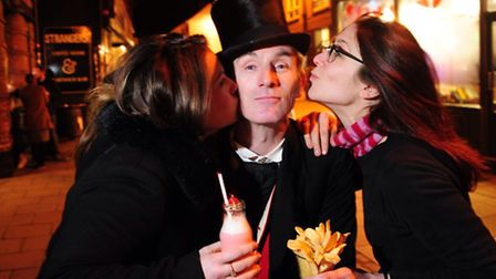 Jack Valentine out and about in Norwich's Lanes to spread love among the public including Jade Heavi