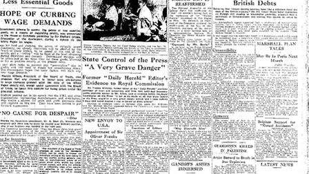 Archive front page: EDP 13 Feb 1948. Photo: Library