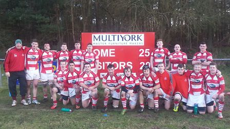 Thetford celebrate their 25-20 win against Hadleigh in Greene King IPA Eastern Counties Two.
