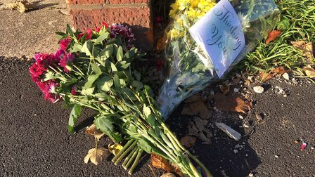 Tributes at the scene of the crash where Alec Pentelow-Bramham was killed by a drink-driver on South