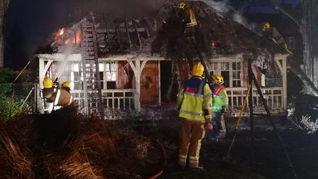 The fire in the tennis pavilion at Heigham Park in November last year. Picture: Ruth Lawes