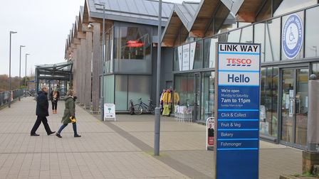 The linkway between Tesco and Sheringham town centre, where a man was assaulted by young people at t