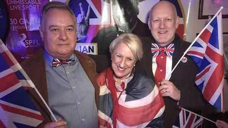 Jamie Mathlin, and Janet and Stephen Rix with Union flags atThe Railway Tavern in Dereham's EU leavi
