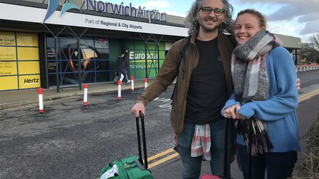 Leon and Sarah Gooch arrive back at Norwich Airport from Tenerife. Picture: Archant.