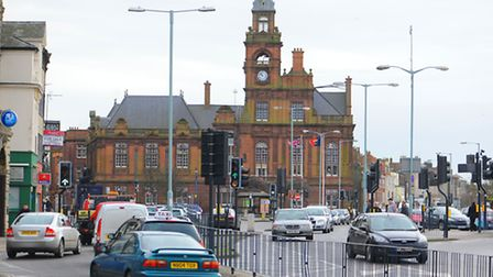 View south along Hall Quay in Great Yarmouth towards the town hall.Picture: James Bass