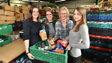 There is concernt he number of volunteers at foodbanks will drop as people self-isolate. Pictured, l