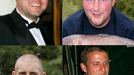 The four men who died in the Claxton tragedy, clockwise from top left, Peter Johnson, Tom Hazelton,