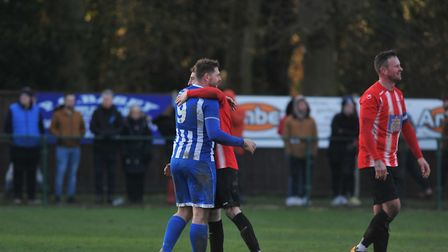 Wroxham FC in action against Bitton AFC in the FA Vase quarter final on February 29. Picture: Tony T