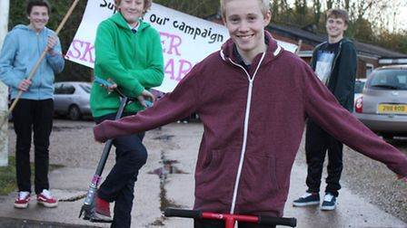 Fourteen-year-old Adam Spruce with fellow Cromer Skate Park junior committee members (back, from lef