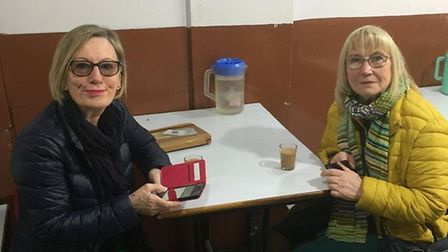 Diane Want and Sue Smith who have safely made it home to Norwich after being stranded in Delhi airpo