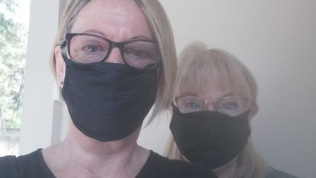 Diane Want and Sue Smith, with makeshift masks, The pair are stranded at Delhi airport. Pic: Claire