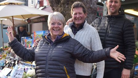 Mike, Debs and James Read at their stall on Norwich Market, which will offer home deliveries for tho